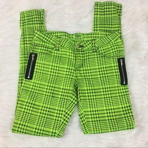 TRIPP neon green and black checkered pants sz 5